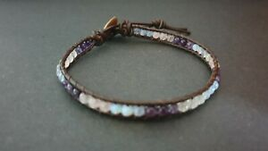 Amethyst Rose Quartz Moonstone Brown Leather Wrap Bracelet Anklet