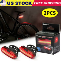 2-Pack LED Bicycle Cycling Tail Light USB Rechargeable Bike Rear Warning Light
