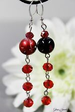Glass Jewels Elegante Silber Ohrringe Ohrhänger Perlen Rot Schwarz Party #L070