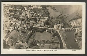 Postcard Christchurch nr Bournemouth Dorset aerial view Castle Ruins and town RP