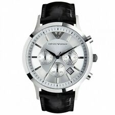 Emporio Armani Gent's Black Leather Strap Chronograph Designer Watch AR2432