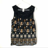 Anthropologie Akemi + Kin Firelight Tank Top Embroidered Black Womens Size S