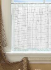 "Heritage Lace White SEACOAST Window Tier With Seaglass Trim, 45""W x 24""L"
