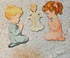 Praying Children Wall Hangings Plaque Vintage Mid Century MCM Kitsch Nursery