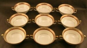 9 Meito China Japan Hand Painted Cream Soup Bowls Burgundy Gold