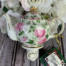 Tea Pot Night Light Ivy Pink Roses Chintz Gilded Trim On & Off Switch Victoria's