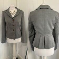 LK Bennett Grey Wool Blend Smart Sharp Pleat Back Detail Jacket Sz 10 Career