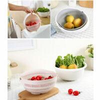NEW Double Drain Basket Bowl Noodles Fruit Vegetable Wash Kitchen Strainer Tool