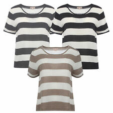 Acrylic Short Sleeve Striped Jumpers & Cardigans for Women