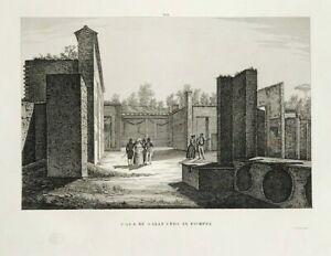 1840 House of Sallust in Pompeii Early Roman residence original by Orlandini