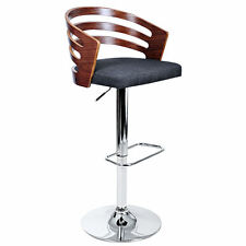Wooden Bar Stool Fabric Seat Kitchen Barstool Dining Chair Foam Gas Lift 8031