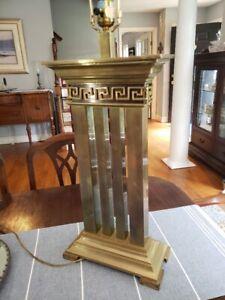 "Rare & Unique! Vintage EF Chapman Brass Greek Key Table Lamp 35.5"" Tall"