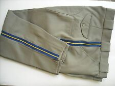 """New""  Silver Tan Poly/Wool Police Uniform Breeches (pants) with C.H.P. Braid"