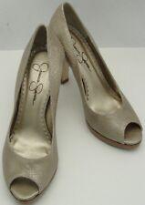 2b4fcc48f515 Jessica Simpson Leather Tan Snake Print Peep Toe High Heel Pump Shoe Sz 6.5B
