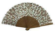 "Terra Lusa Beautiful Wood Silk Hand Fan Portugal Silver Lace Look 16 x 9"""