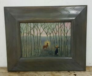 1996 Signed Susannah Royle Oil on Board Painting of A Stag