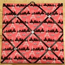French Bulletin Board Photo Memo Board Pink Eiffel Tower Print 12 x 12 inches