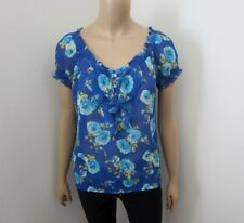 NEW Abercrombie Women Floral Sheer Top Size Small Blouse Blue