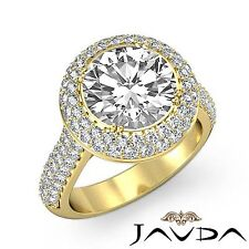 Round Diamond Engagement Halo Pre-Set Ring GIA F VS1 Clarity 18k Yellow Gold 3ct