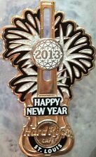 Hard Rock Cafe ST. LOUIS 2013 HAPPY NEW YEAR PIN Slider Ball & Fireworks GUITAR