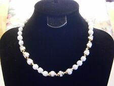 Vintage Miriam Haskell White Milk Glass Bead Choker Necklace Gold Trim Signed