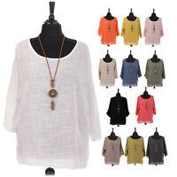 Ladies Italian Lagenlook Tunic Cotton Top Women Round Neck Necklace Quirky Shirt