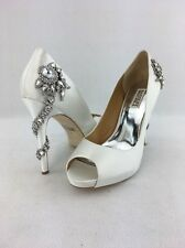 Badgley Mischka Royal White Satin Jewel Heel Platform Stiletto Size:9 RH13532