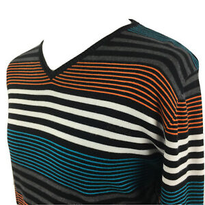 ONeill Mens Jumper Large Long Sleeve Sweater Gents V Neck Pullover Stripe Knit