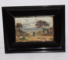Miniaturmalerei, Romantik, um 1900, Spaziergang zum Strand, Boote, Meer,sign