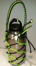 Paracord Water Bottle Carrier net for  64oz or a 36oz Neon Green & BLACK