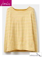 Joules Women's Harbour Jersey Top - Antique Gold Stripe- UK 8-20