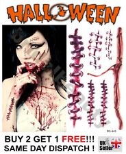 Halloween Zombie Horror Scars Wound Stitches Temporary Tattoos Costume Party UK