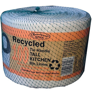 Banquet 100 Recycled Tie Handle Kitchen Bin Liners Fits up to 50L Kitchen Bins