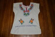 vintage  folk Art Mexican floral  embroidered festival lace up hippie TUNIC  TOP
