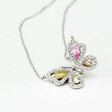 Stunning 925 Sterling Silver Crystals From Swarovski Butterfly Pendant Necklace