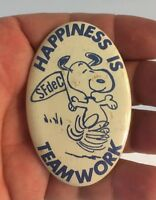 """Vintage 1950's Oval Snoopy Pin Happiness Is Teamwork SFdeC Metal 2-3/4"""" EXC"""
