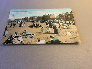 VINTAGE POST CARD ON THE SANDS,RHYL.