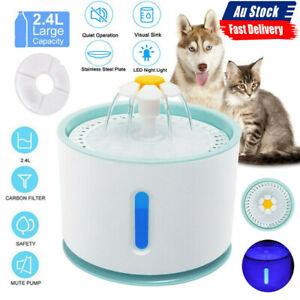 2.4L Pet Water Fountain For Cat Dog Automatic Water Drinking Dispenser Bowl Dish