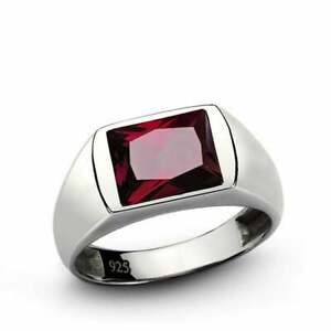 Solid 925 Silver Silver Ruby Gemstone Wedding Mens Ring Size 6 to 14