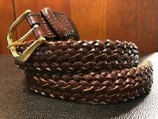 Lands' End Brown Leather Woven Sz 28 Belt with Leather Loop & SOLID BRASS Buckle