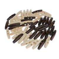 50pcs bouton à bascule en forme d'olive en bois 2 trous boutons à coudre ovale