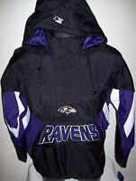 BALTIMORE RAVENS NFL Starter Hooded Half Zip Pullover Jacket S M L XL 2X BLACK
