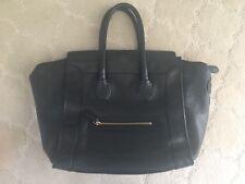 Auth Celine Luggage Mini Shopper Black Pebbled Leather Handbag Tote