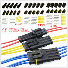 Sealed Waterproof Electrical Wire Connector 15 Kits 2 3 4 Way Pin Plug Socket
