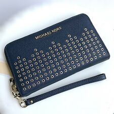 Michael Kors * Hayes Leather Phone Case Wallet Wristlet in Navy Blue COD PayPal