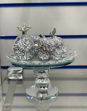 Funkelnd Silber Crushed Diamond dekorative Kristall gefüllt Glas Obstkorb ✨