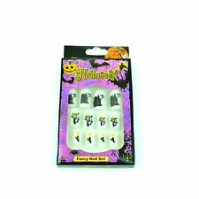 12 Spooky Scary Fake Fingers Nails With Glue Decals Set Halloween Party Costume