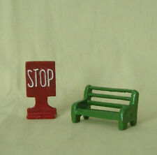 Park Bench & Stop Sign, O scale model train layout reproduction for Marx, Hafner
