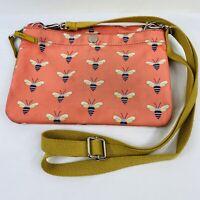 Fossil Pink Bee Printed Key-Per Small Crossbody Bag Purse Zip Flap Casual Cute