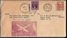 US HAWAII 1935 SAN FRANCISCO HONOLULU FIRST FLIGHT & RETURN